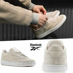 757539a7095 Reebok Classic Club C85 Tonal Nubuck Shoes Sneakers Beige BS9613 SZ ...