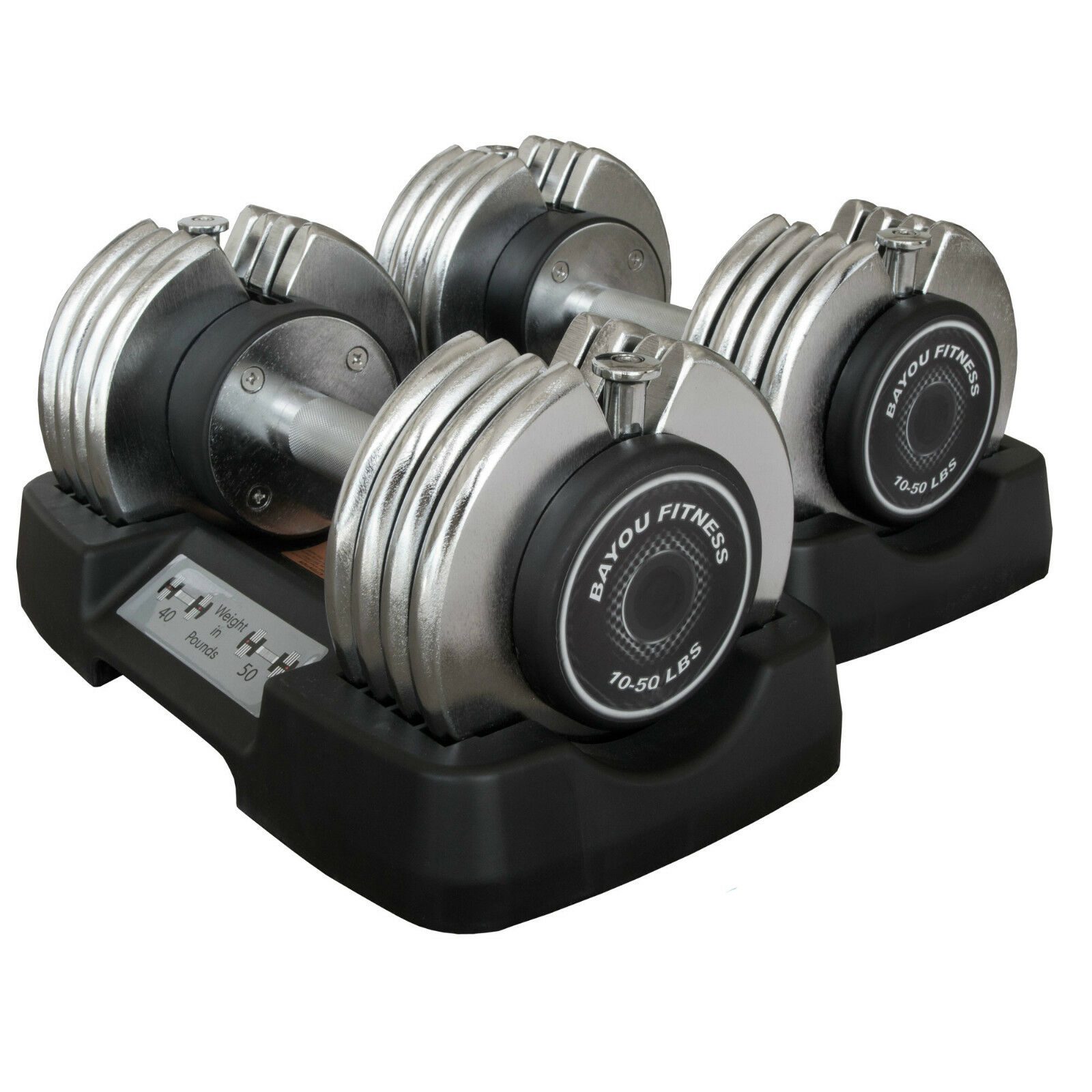 Bayou Fitness 2 (Two) 50lb Adjustable Weight Dumbbells BF-0250