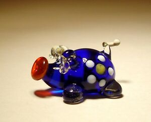"Verre Soufflé Figurine "" Murano "" Art Animal Petit Bleu Cochon Avec Marguerite Hyg6rzkf-07213331-927986013"