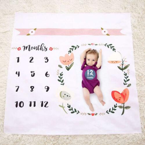 Newborn Kids Infants Milestone Blanket Mat Photography Prop Monthly Stickers
