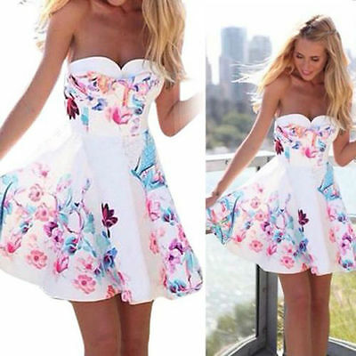 Hot Sexy Womens Sleeveless Summer Floral Beach Party Evening Cocktail Mini Dress