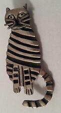 Vintage Whimsical Cat Sterling Silver Pin Brooch