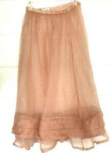 Krista-Larson-SKIRT-Peach-SHEER-Ruffled-100-Silk-Elastic-Waist-LAGENLOOK