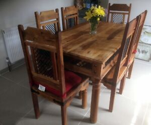 Details About Jali Indian Solid Sheesham Wood Dining Table And 6 Chairs