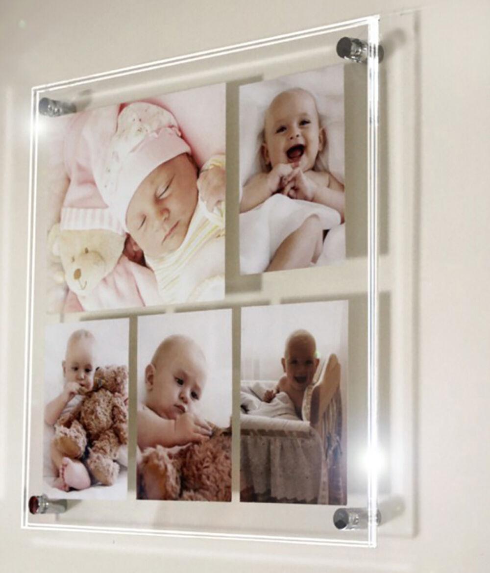 Multi Foto Cornice 10 x 7 & 6 x 4 tutti i Coloreeei Cheshire Acrilico Baby