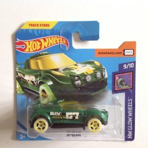 HOT-WHEELS-Glow-RUOTE-Hi-Beam-1-64-Scala-Die-Cast-Modello-Auto-Giocattolo-Verde-252-365