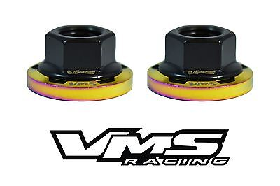 6 VMS RACING STRUT TOWER DRESS UP BLUE WASHERS /& NEOCHROME NUTS FOR NISSAN