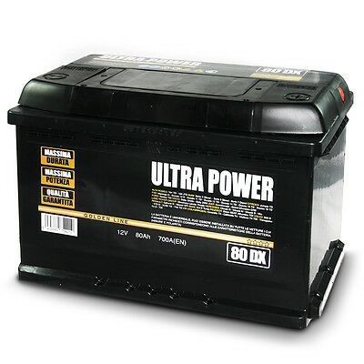 ULTRA POWER Batteria per auto 80Ah DX 700A pronta all'uso lunga durata e potenza