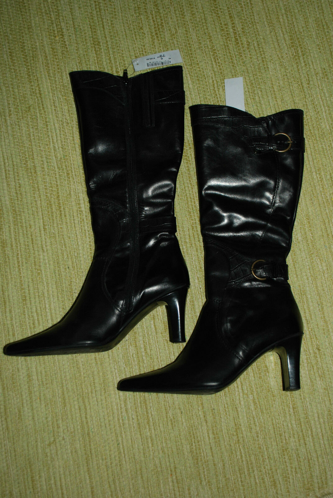 Neu DI damen sexy Stiefel aus Leder SCHWARZ schwarz m. Absatz Lederstiefel Gr. 40