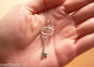 Tiffany co silver oval key necklace pendant charm 182 inch chain image is loading tiffany amp co silver oval key necklace pendant aloadofball Choice Image