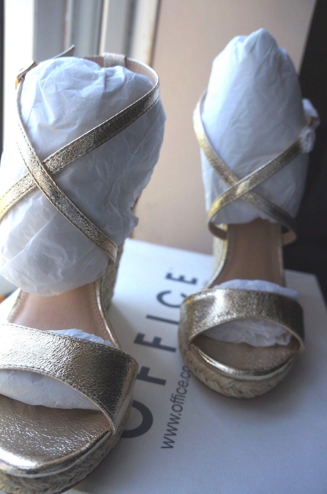 Office Highness Dressy Espadrille Wedges Gold Metallic Größe UK 7 / EU 40