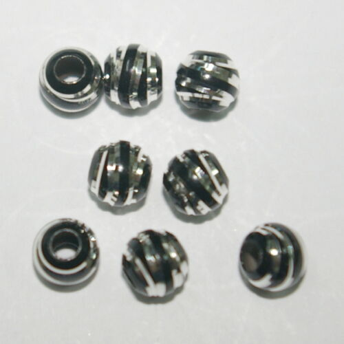 SPIRAL CUT 6mm Black Bead LOTS Ruthenium Plated over Sterling Silver 925