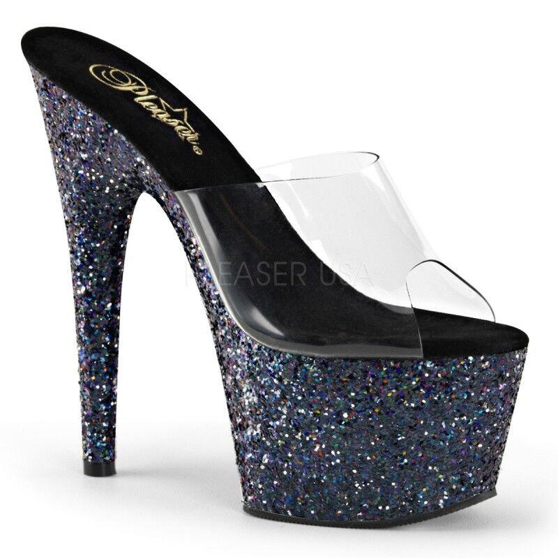 Pleaser Pleaser Pleaser adore - 701 sandalia de plataforma negro glitter claramente tabledance fiesta glam  venta mundialmente famosa en línea