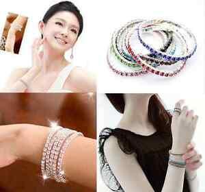 Tennis-Rhinestone-Crystal-Wedding-Bridal-Bangle-mixed-color-Stretch-Bracelet-h