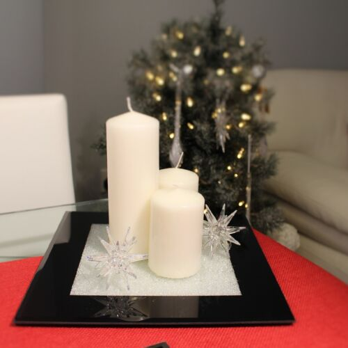 New Black Glass Candle Plate With Swarovski Crystals Dining Table Centrepiece