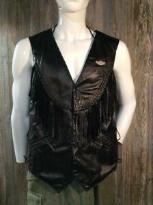 Leather Motorcycle Vest Excellent Condition Laced Sides Unisex D4