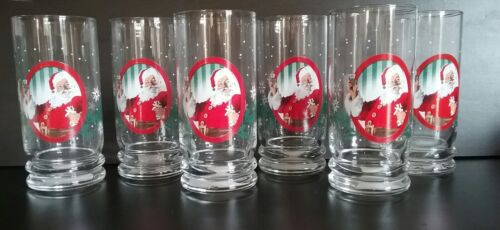 "6 Tall Coca-Cola Santa Glasses 6.25/"" Christmas Holiday Snowflakes Clear NWT"
