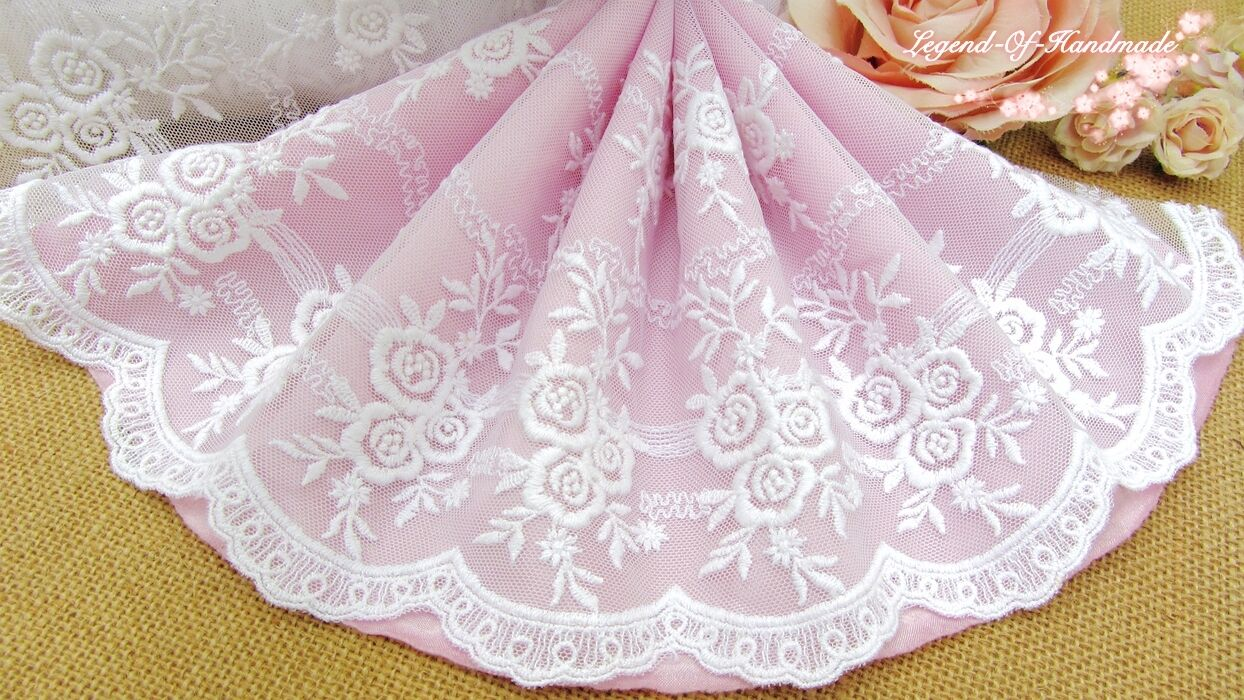 """5/""""*1Y Embroidered Tulle Lace Trim~Snow White~Twinkling Stars~Wedding//Sewing//DIY~"""