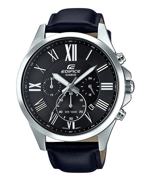 Casio Edifice Men's Quartz Chronograph Black Leather Band 47mm Watch EFV-500L-1A