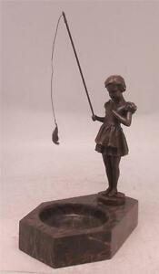 Art Deco Bronze Girl Fishing after Ferdinand Preiss Marble Base with Tray