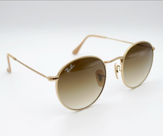 7e214e3c3 Ray Ban Sunglasses Rb3447 112/51 Round Gold Metal Brown Gradient Lens 50mm
