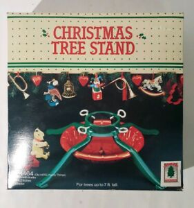 Vintage-Christmas-Tree-Stand-Red-amp-Green-4-Legs-Steel-New-Old-Stock