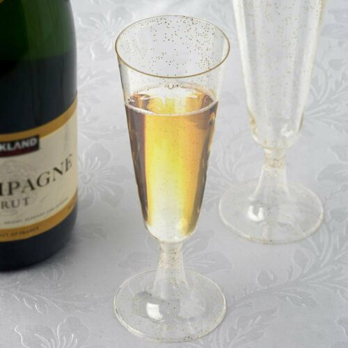 5 oz Disposable Gold Glittered Clear PLASTIC Champagne GLASSES Party TABLEWARE
