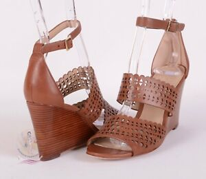 ca810e007d3c02 TORY BURCH Laser-cut Leather Wedge Sandals Sz 10.5 US   40 1 2 EU ...