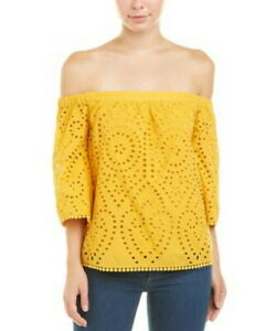 NEW-BCBG-MAXAZRIA-OFF-THE-SHOULDER-EMBROIDERED-TOP-AFR12A51-S675W-SIZE-M