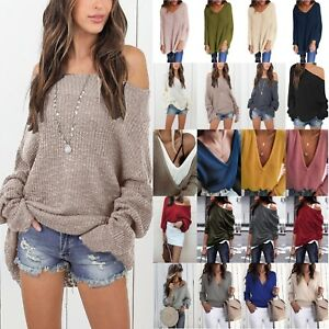 Womens-Plain-Cold-Shoulder-Jumper-Sweater-Baggy-Long-Sleeve-Pullover-Party-Tops