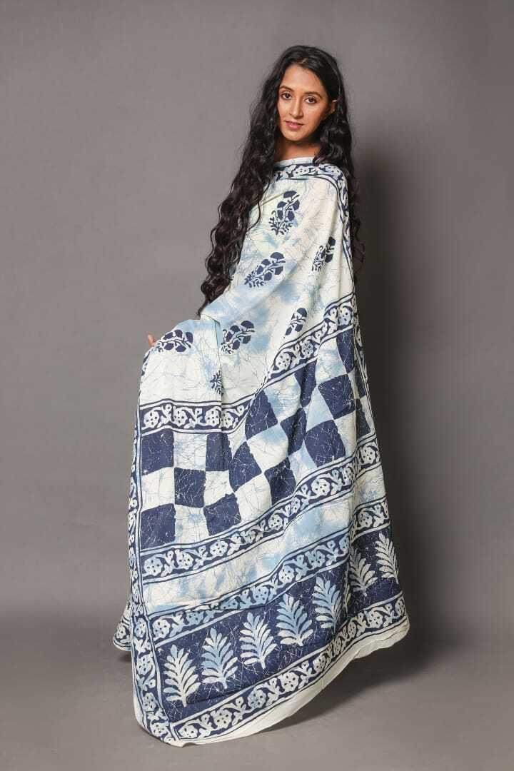 Best Sari Women Hand Made Art Beautiful Design White Printed Cotton Sari &Blouse