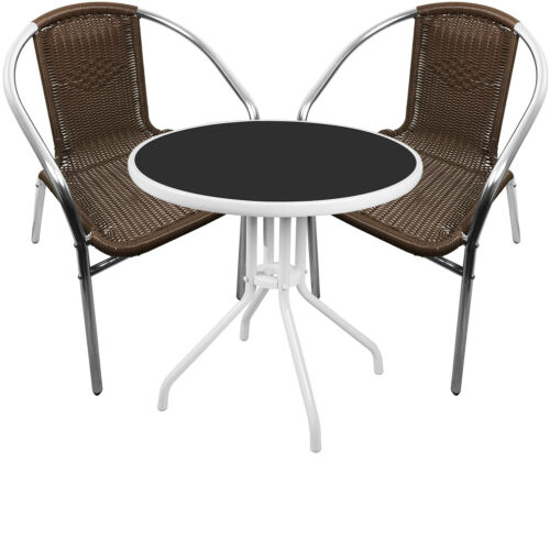 Mojawo® 3tlg Bistrogarnitur Balkonset rund Metall Weiß//Glas Ø60cm Rattan Mokka