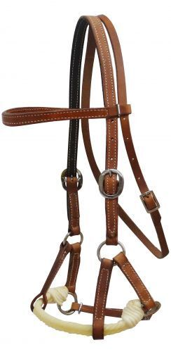 Horse sz Side pull soft Medium Oil silverine leather w twisted nose rope SHOWMAN