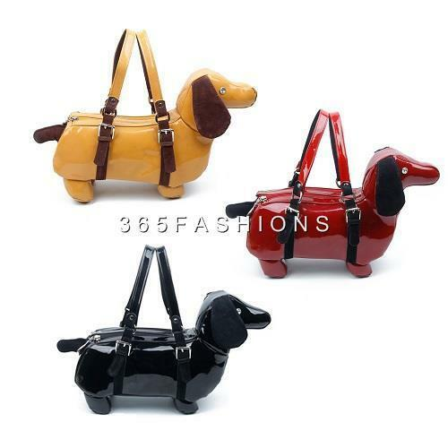 Cute Jewel Black Animal Faux Retro Leather 3d Dog Statement Sausage Handbag burgundy fAdqHBfx