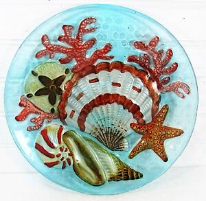 Details About Sea Shells Art Gl Plate Hand Painted Nautical Home Decor
