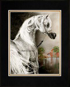 Matted-034-Arabian-Stallion-034-Horse-Art-Giclee-Print-8-034-x10-034-Mat-by-Artist-Roby-Baer