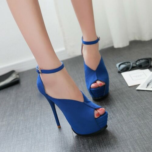 Blu 5 Plateau Sandali Tacco 5 Cm Stiletto Eleganti Donna 9302 13 ExTUqa