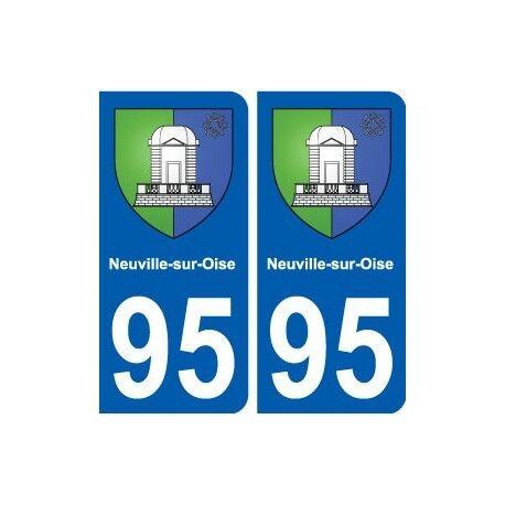 95 Neuville-sur-Oise blason autocollant plaque stickers ville arrondis