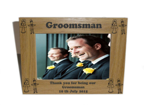 Free Engraving Natural Wooden Photo 6 x 4 Frame Groomsman