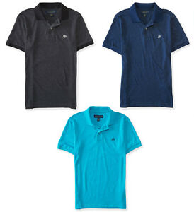 Aeropostale Mens Vertical AERO Solid logo Polo Shirt Black S,M,L,XL,2XL,3XL NEW!