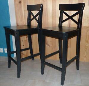2 Chaises De Bar Tabourets Ingolf Ikea Noir Haut 63 Cm Pour Table
