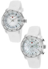 Swiss Legend White Mother of Pearl White Silicone Strap Watch Set
