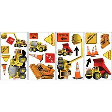CONSTRUCTION TRUCKS wall sticker 23 decal Signs Cement Bulldozer Crane scrapbook