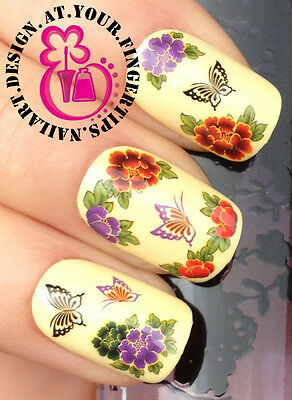 NAIL ART WRAP WATER TRANSFER DECALS PURPLE RED FLOWERS & BUTTERFLIES #171