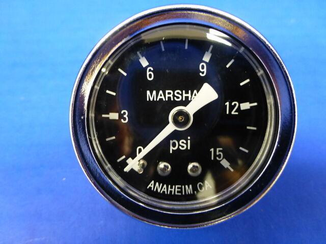 """Marshall Gauge 0-15 psi Fuel Pressure Oil Pressure Gauge Black 1.5"""" Diameter"""