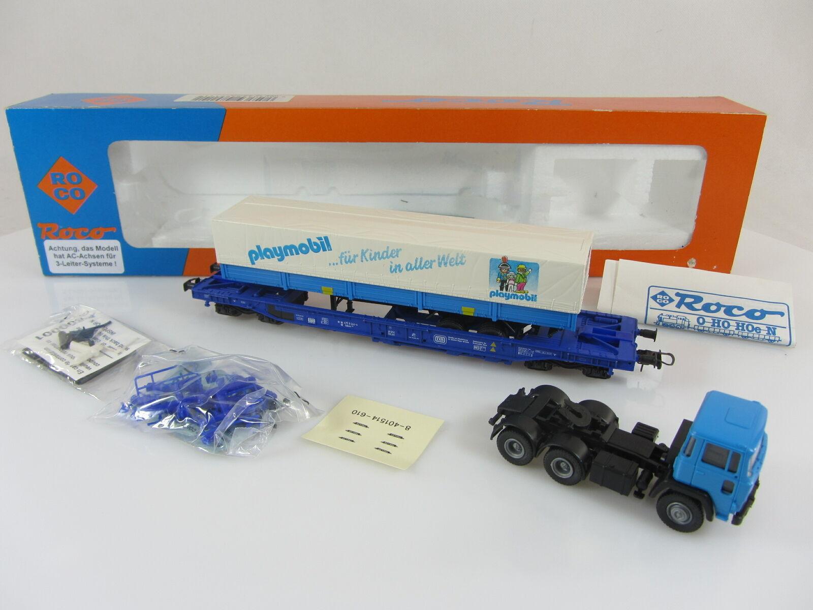 ROCO 48015 Taschenwagen der DB mit Playmobil-LKW, AC-Achsen, mit OVP  | Zart