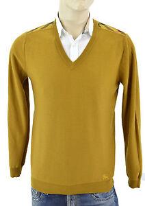550-BURBERRY-BRIT-Gold-Ocre-Carreaux-100-Laine-Homme-Pull-Taille-M-Nouvelle-collection