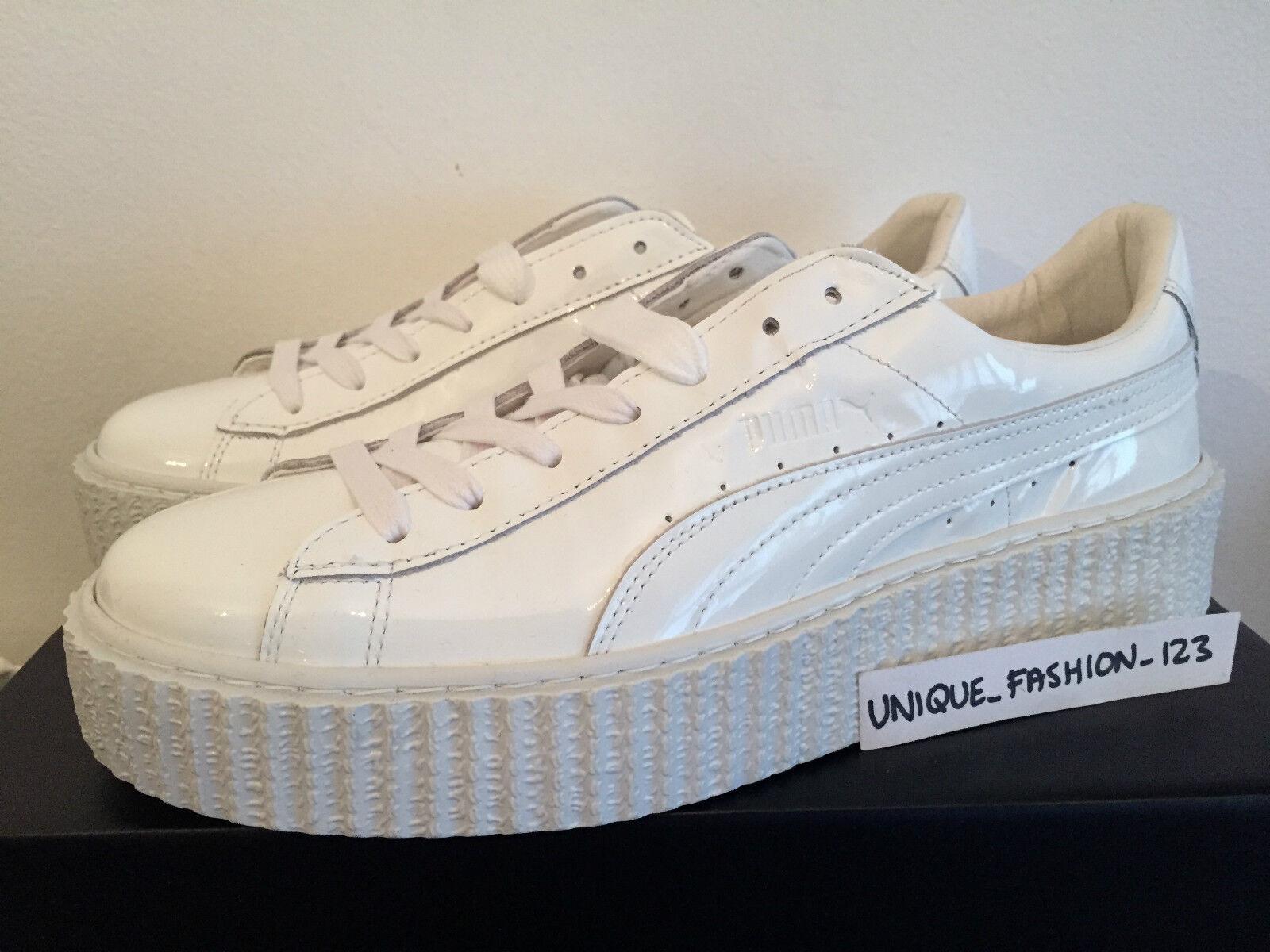 PUMA FENTY RIHANNA CREEPERS UK 4 5 6 7 8 TRIPLE WHITE GLO PATENT LEATHER BASKET