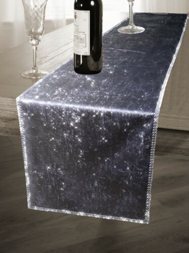 """78/"""" X 13/"""" Sparkling Two Tone Ombre Styled Crushed Velvet Table Runner 35 x 200cm"""