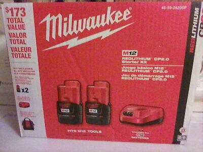 Milwaukee 48-59-2420SP M12 2.0Ah Batteries Starter Kit Brand New Free Ship!